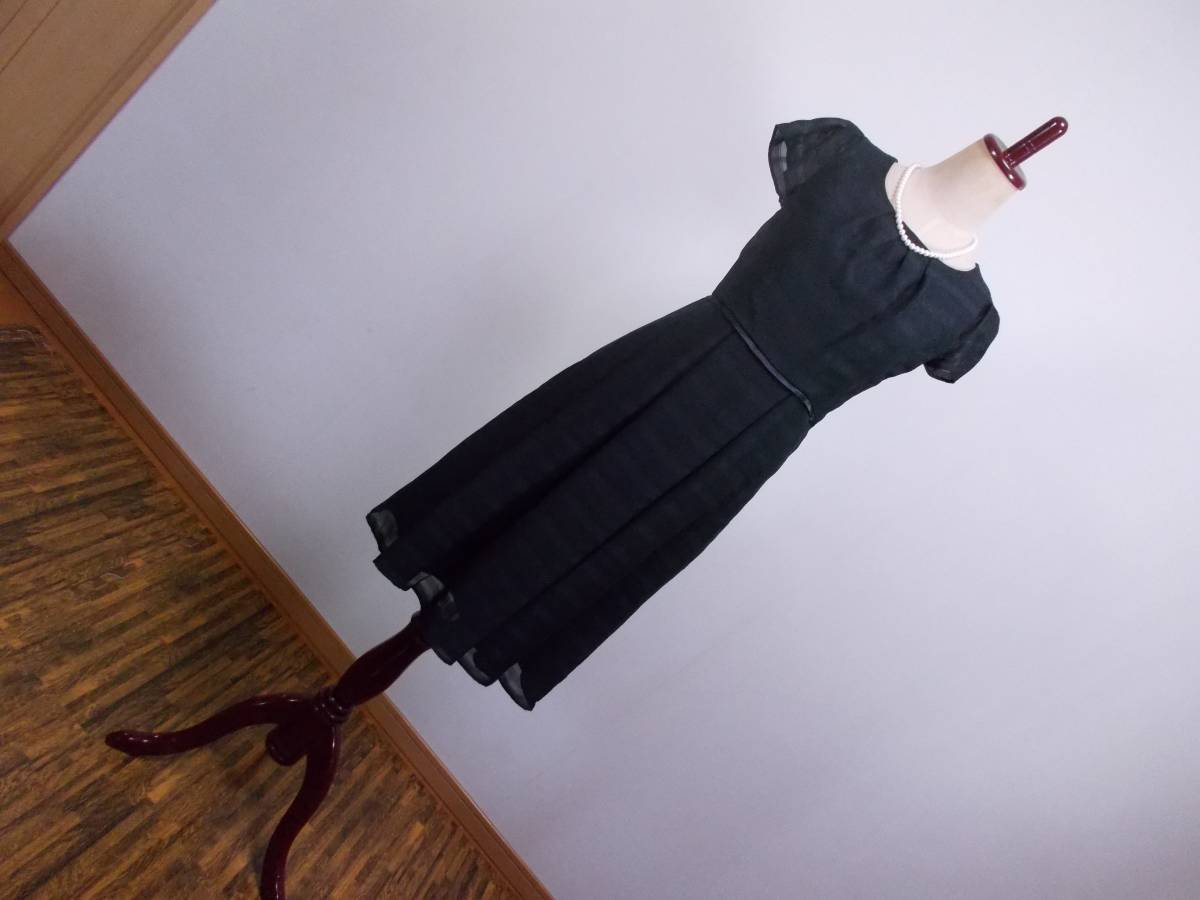 30-156新品ブラックフォーマルスーツセレモニー黒テーラードジャケット半袖シフォンワンピース5号S SS5AR58卒業式入学式結婚式発表会_画像8