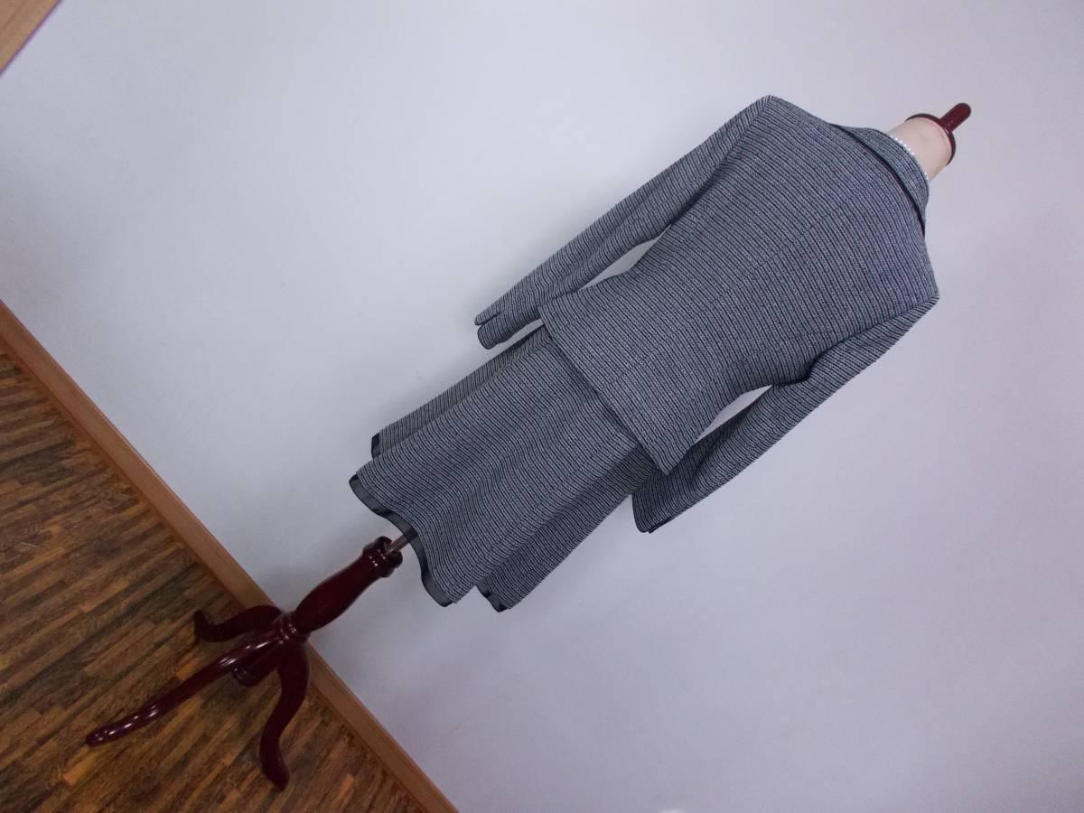 30-226新品フォーマルスーツセレモニースーツ白黒ツイードテーラードジャケットひざ丈スカート9号 M リボンコサージュ卒業式入学式結婚式_画像2