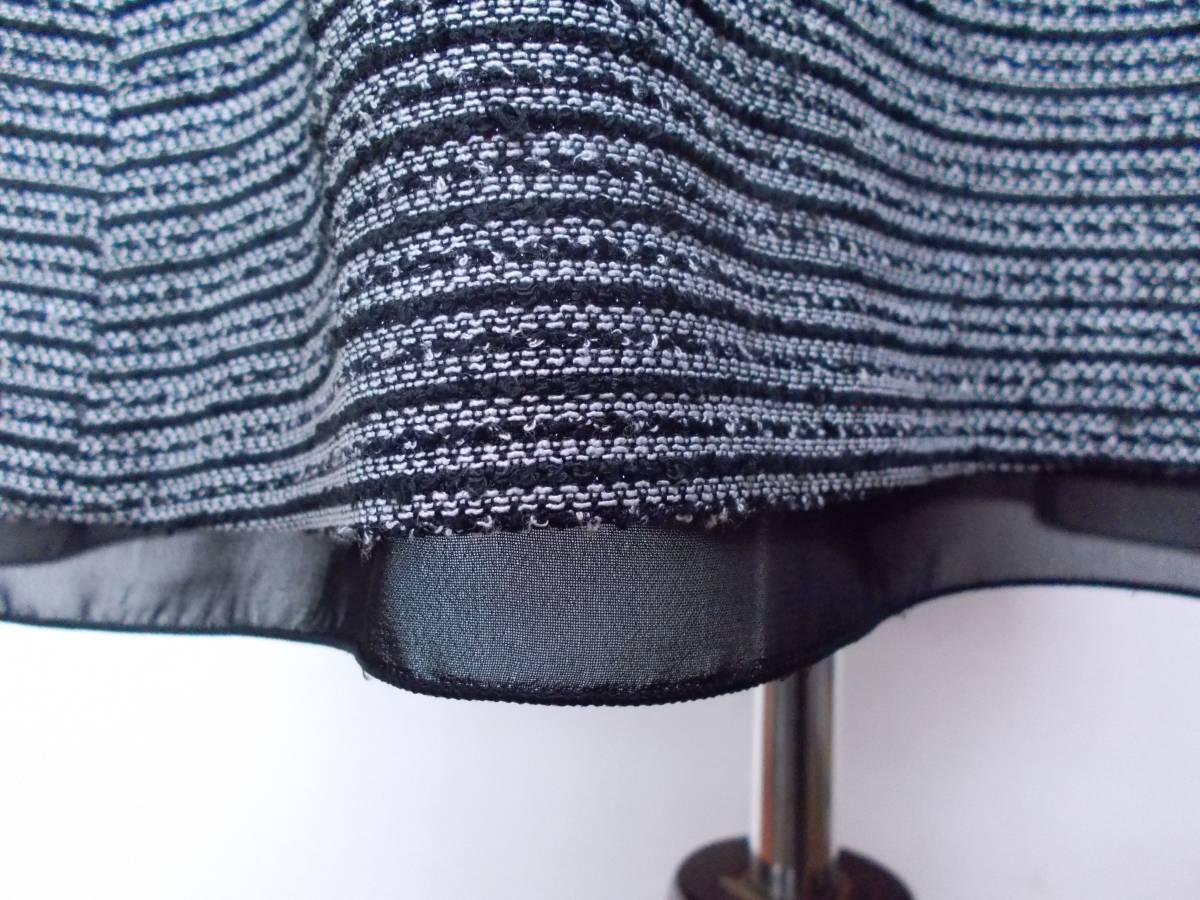 30-226新品フォーマルスーツセレモニースーツ白黒ツイードテーラードジャケットひざ丈スカート9号 M リボンコサージュ卒業式入学式結婚式_画像8