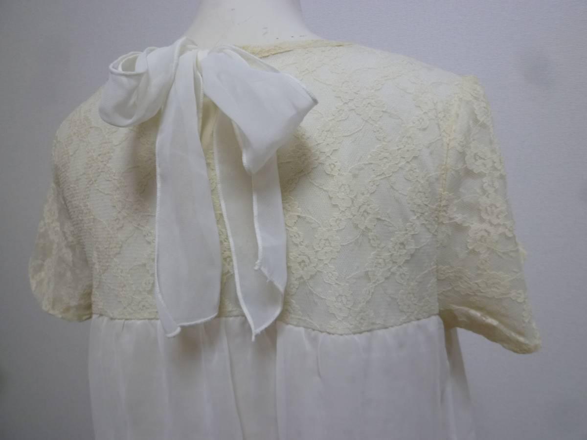 axes femme/アクシーズファム♪白系袖レース胸元背中リボンラメドット柄重ねシフォンワンピースM/オフホワイト♪131_画像3