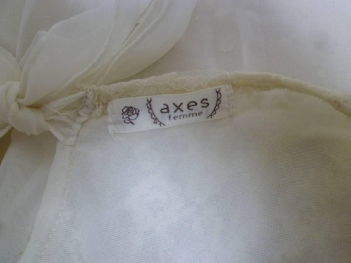 axes femme/アクシーズファム♪白系袖レース胸元背中リボンラメドット柄重ねシフォンワンピースM/オフホワイト♪131_画像6