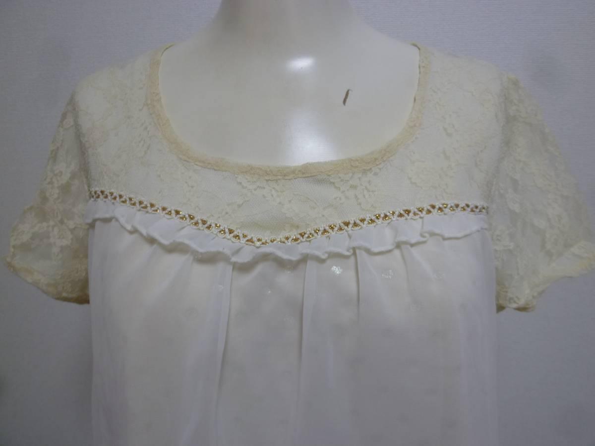 axes femme/アクシーズファム♪白系袖レース胸元背中リボンラメドット柄重ねシフォンワンピースM/オフホワイト♪131_画像5