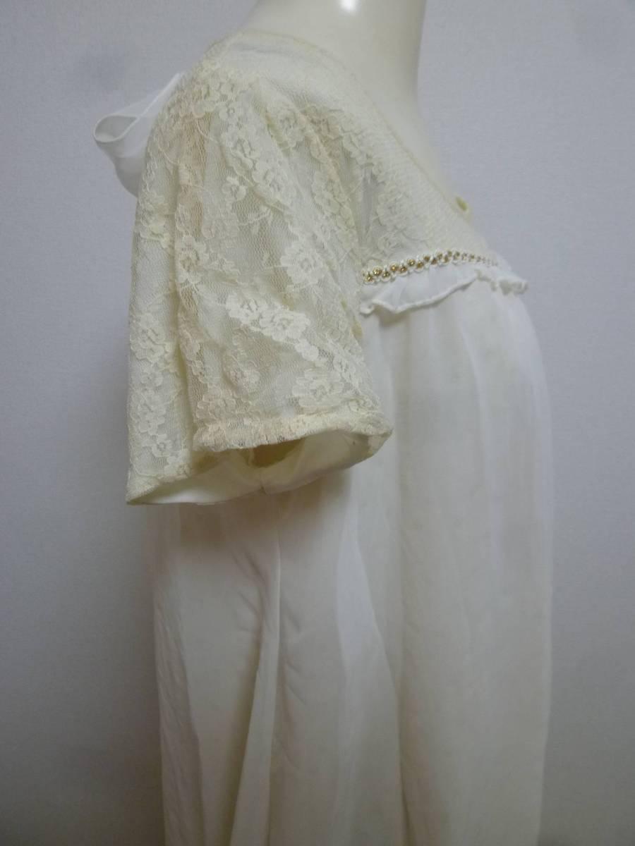 axes femme/アクシーズファム♪白系袖レース胸元背中リボンラメドット柄重ねシフォンワンピースM/オフホワイト♪131_画像4