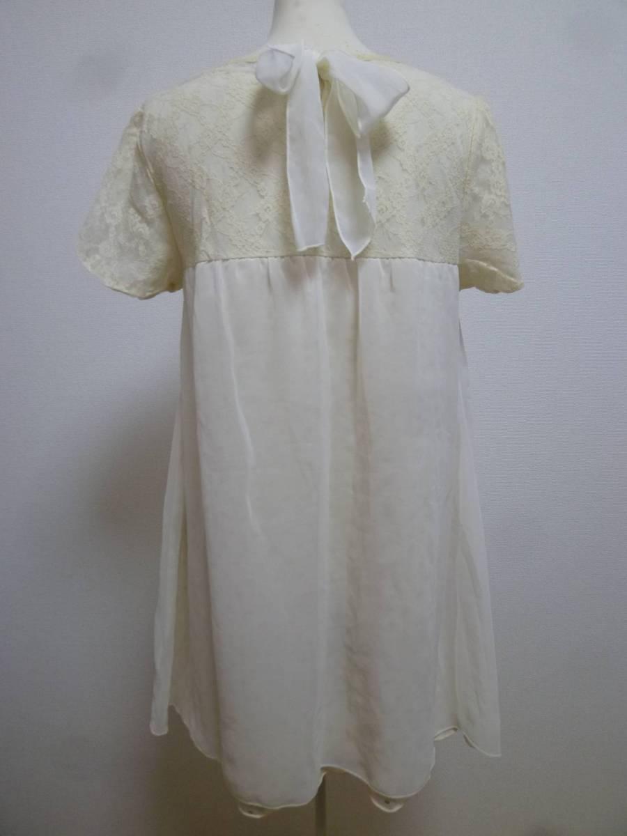 axes femme/アクシーズファム♪白系袖レース胸元背中リボンラメドット柄重ねシフォンワンピースM/オフホワイト♪131_画像2