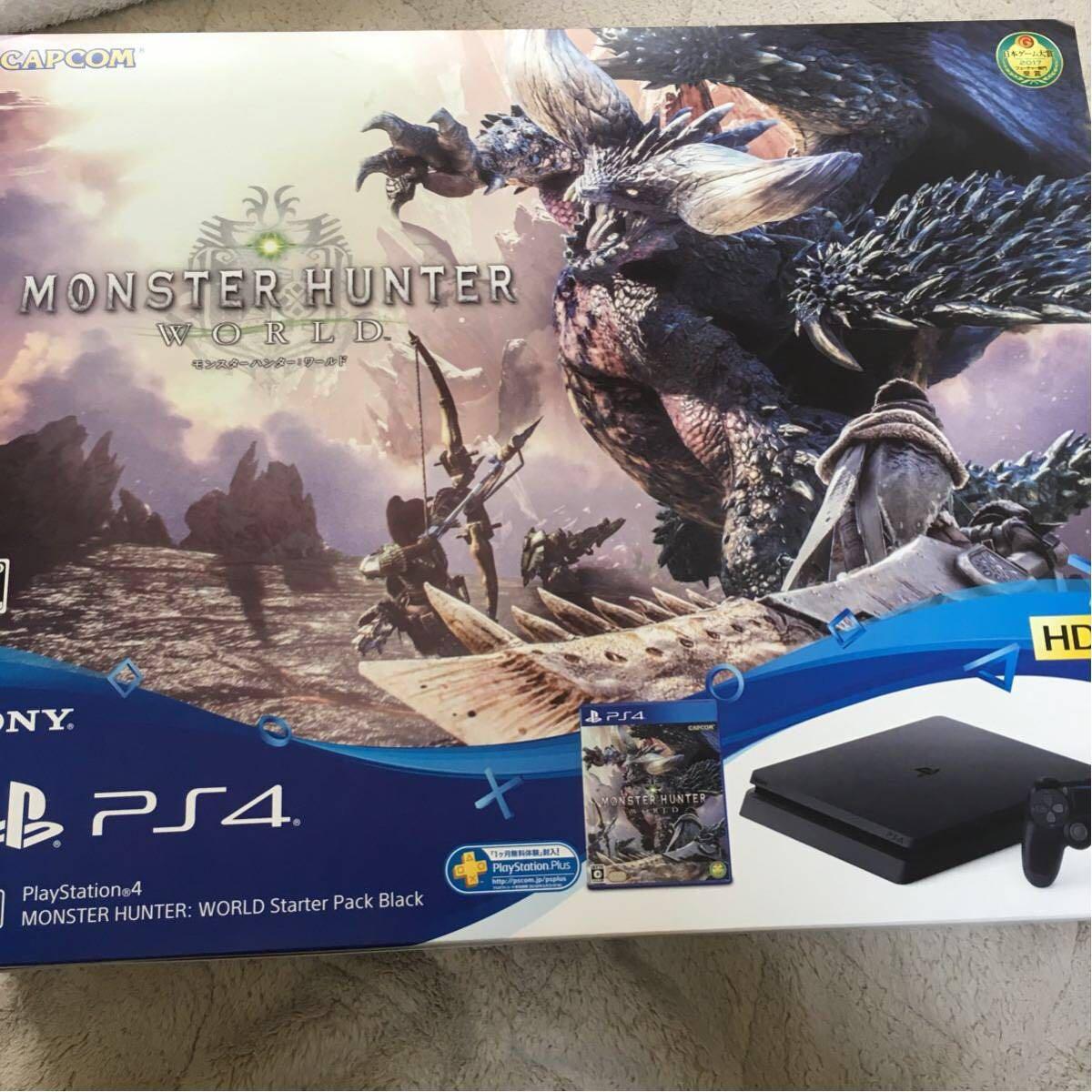 新古品 PlayStation4 MONSTER HUNTER WORLD Starter Pack Black PS4本体500GB モンスターハンターワールド 同梱版