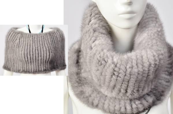 【送料無料】 本物 毛皮の宝石ミンク編み込みスヌード ◆ ボレロ 灰色/ レディースファッション