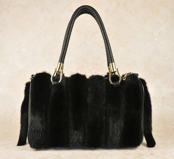 【送料無料】新品◆限定 高級本革&ミンク毛皮使用!2wayショルダーバッグ高品質♪黒