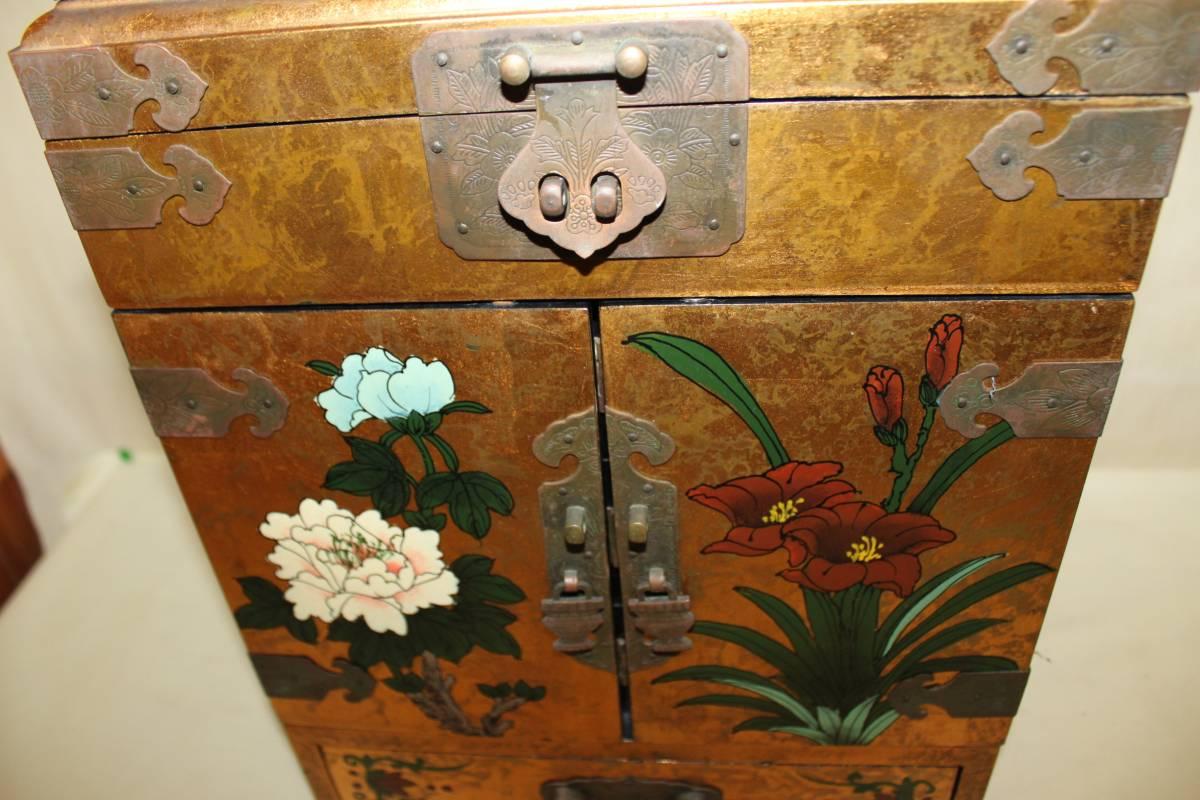 ◆李朝 宝石箱 旧家蔵出骨董初だし 尾形光琳風彩色 花鳥図_画像3