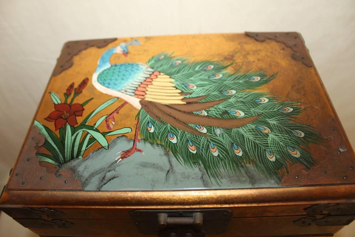 ◆李朝 宝石箱 旧家蔵出骨董初だし 尾形光琳風彩色 花鳥図_画像2