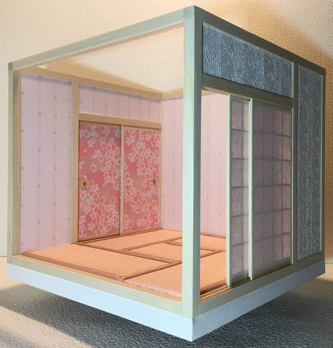 ドールハウス 和室 和風 畳部屋 1/12 サイズ ピンク ポップ桜の間。プチブライス ピコニーモ あまむす オビツ11のミニチュア人形装飾撮影等