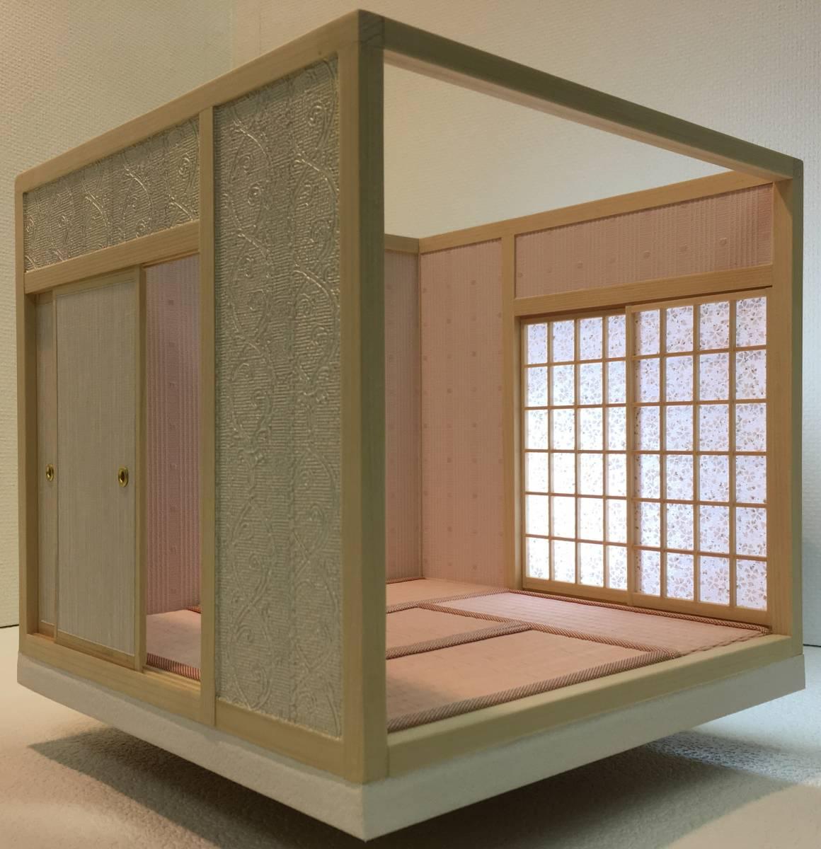 ドールハウス 和室 和風 畳部屋 1/12 サイズ ピンク ポップ桜の間。プチブライス ピコニーモ あまむす オビツ11のミニチュア人形装飾撮影等_画像2