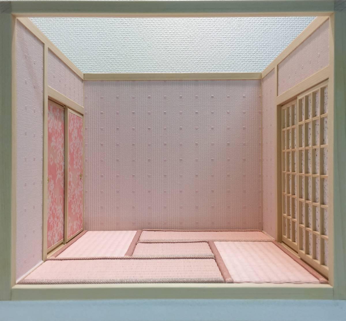 ドールハウス 和室 和風 畳部屋 1/12 サイズ ピンク ポップ桜の間。プチブライス ピコニーモ あまむす オビツ11のミニチュア人形装飾撮影等_画像4