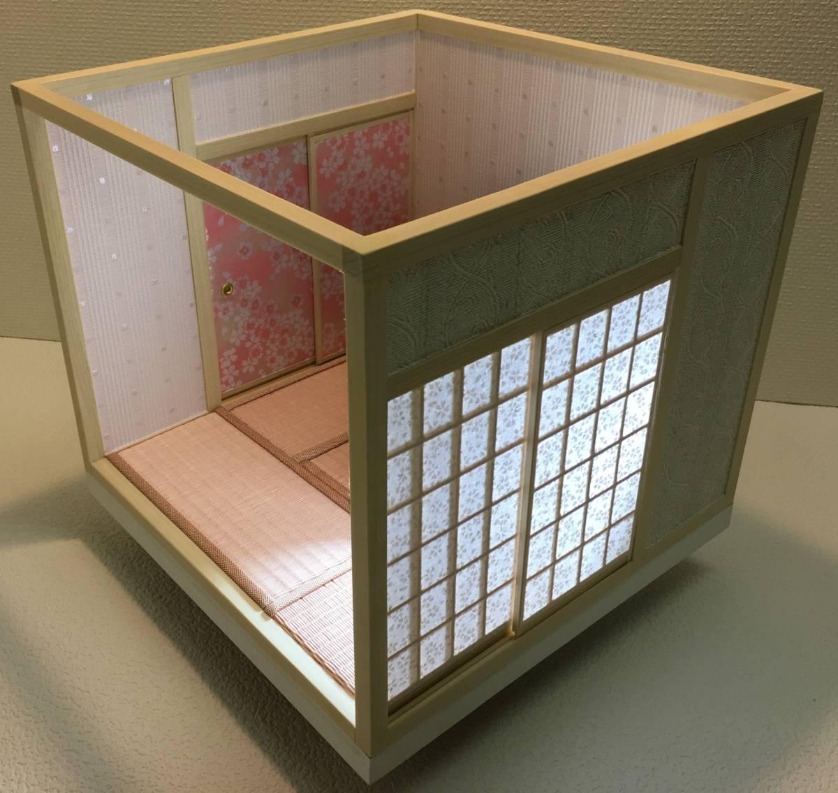 ドールハウス 和室 和風 畳部屋 1/12 サイズ ピンク ポップ桜の間。プチブライス ピコニーモ あまむす オビツ11のミニチュア人形装飾撮影等_画像3