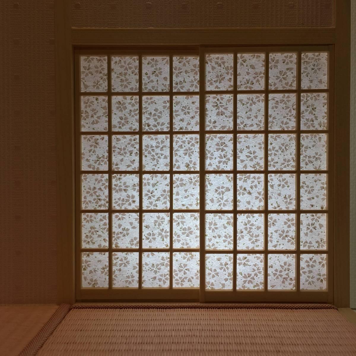 ドールハウス 和室 和風 畳部屋 1/12 サイズ ピンク ポップ桜の間。プチブライス ピコニーモ あまむす オビツ11のミニチュア人形装飾撮影等_画像8