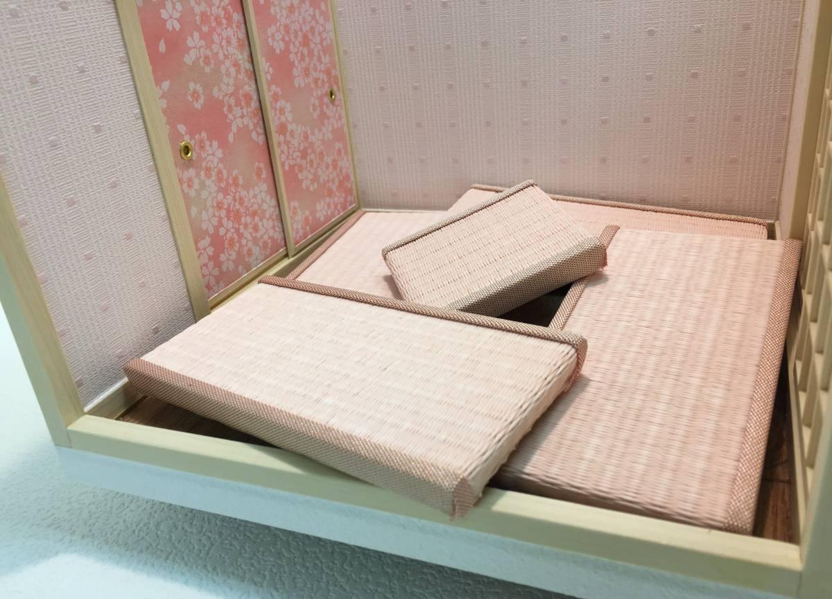 ドールハウス 和室 和風 畳部屋 1/12 サイズ ピンク ポップ桜の間。プチブライス ピコニーモ あまむす オビツ11のミニチュア人形装飾撮影等_画像10