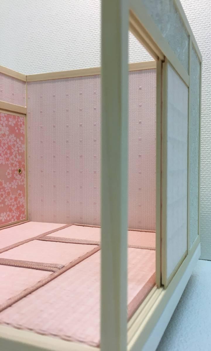 ドールハウス 和室 和風 畳部屋 1/12 サイズ ピンク ポップ桜の間。プチブライス ピコニーモ あまむす オビツ11のミニチュア人形装飾撮影等_画像5
