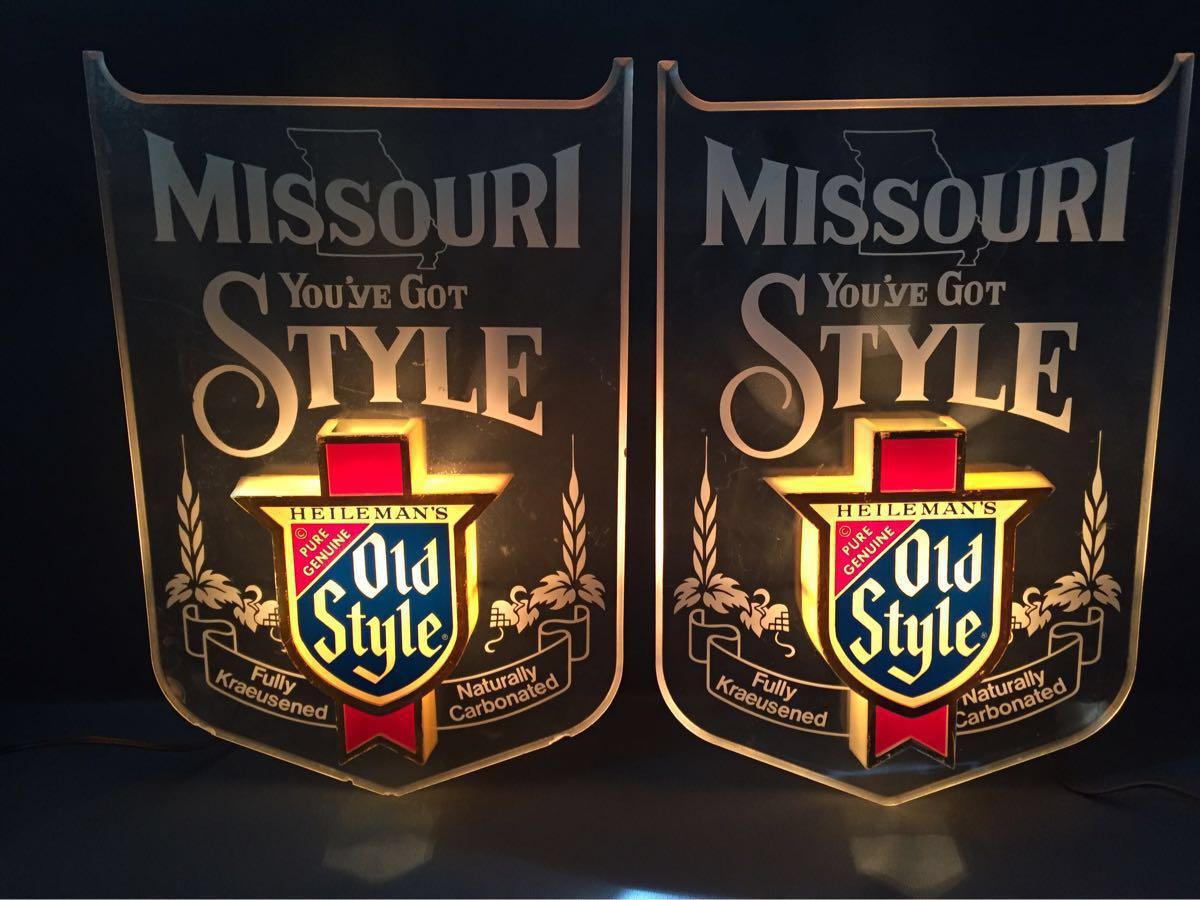 HEILEMAN'S OLD STYLE beer アンティーク ヴィンテージ ライトサイン 2点セット インテリア おしゃれ バー ビール アメリカ 雑貨 レア USA