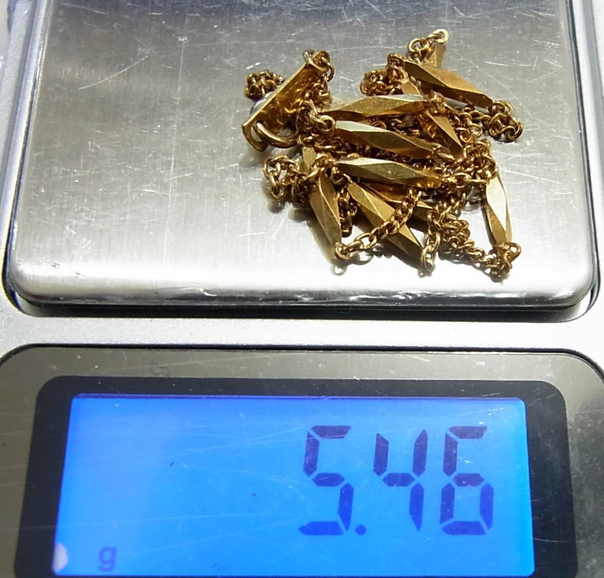 シチズン K18 切子ネックレス40cm イエローゴールド CITIZEN 18金 K18YG 造幣局ホールマーク 750YG 5.46g 地金GOLD日本製レディース女性用_画像3