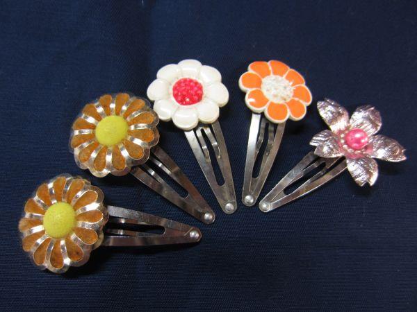 昭和レトロ 花のモチーフのパッチン留め ヘアーアクセサリー 髪留め 約4.5cm