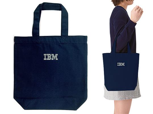 IBMロゴ入り ライトキャンバスバッグ(M)マチ付 ネイビー_画像2