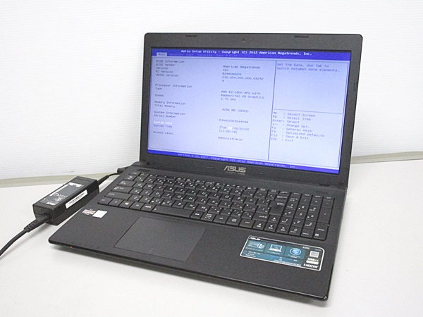 ASUS X55U 15.6インチ AMD E2-1800 1.7GHz 4GB 無線LAN OS起動品よりHDD外 BIOSOK ジャンク管:Y-502