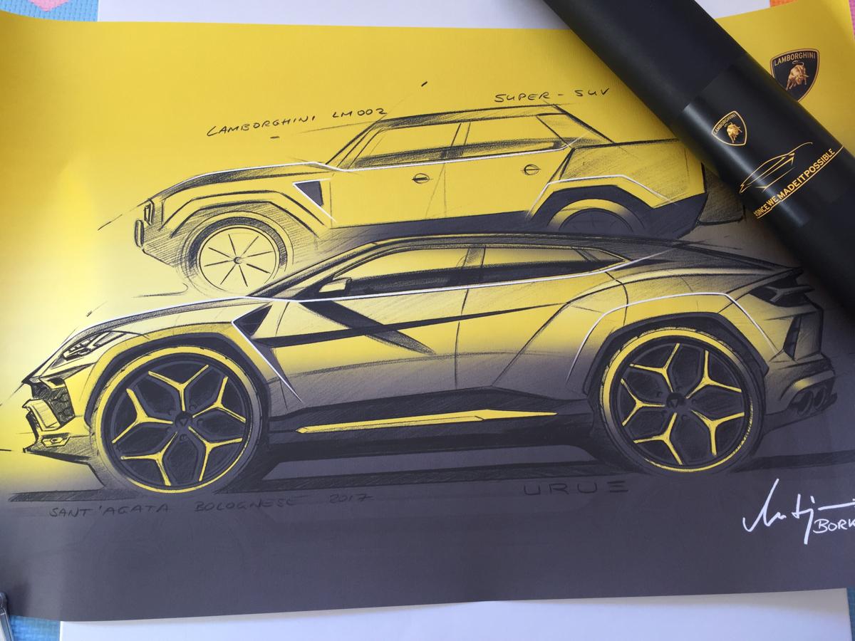 純正新品 ランボルギーニ ウルス Lamborghini URUS ウルスデザイナー見取り図 2019 英語限定_画像1