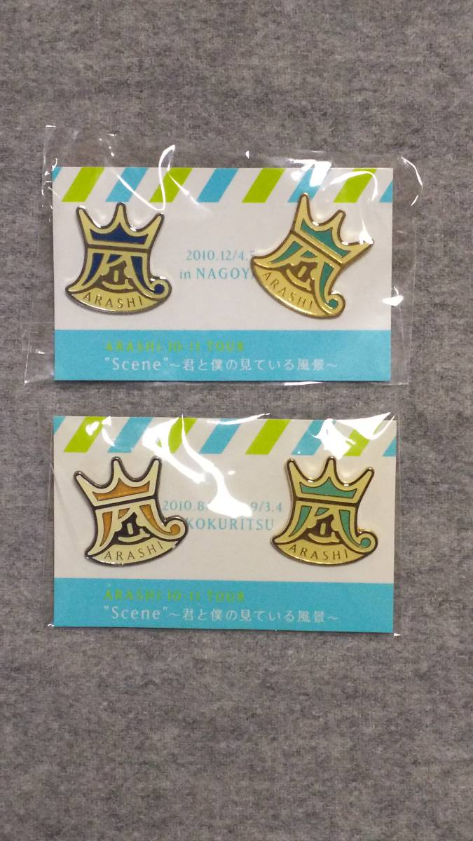 """嵐 ARASHI 10-11 TOUR """"Scene"""" ~君と僕の見ている風景~ 会場限定ピンバッジ 2点セット"""