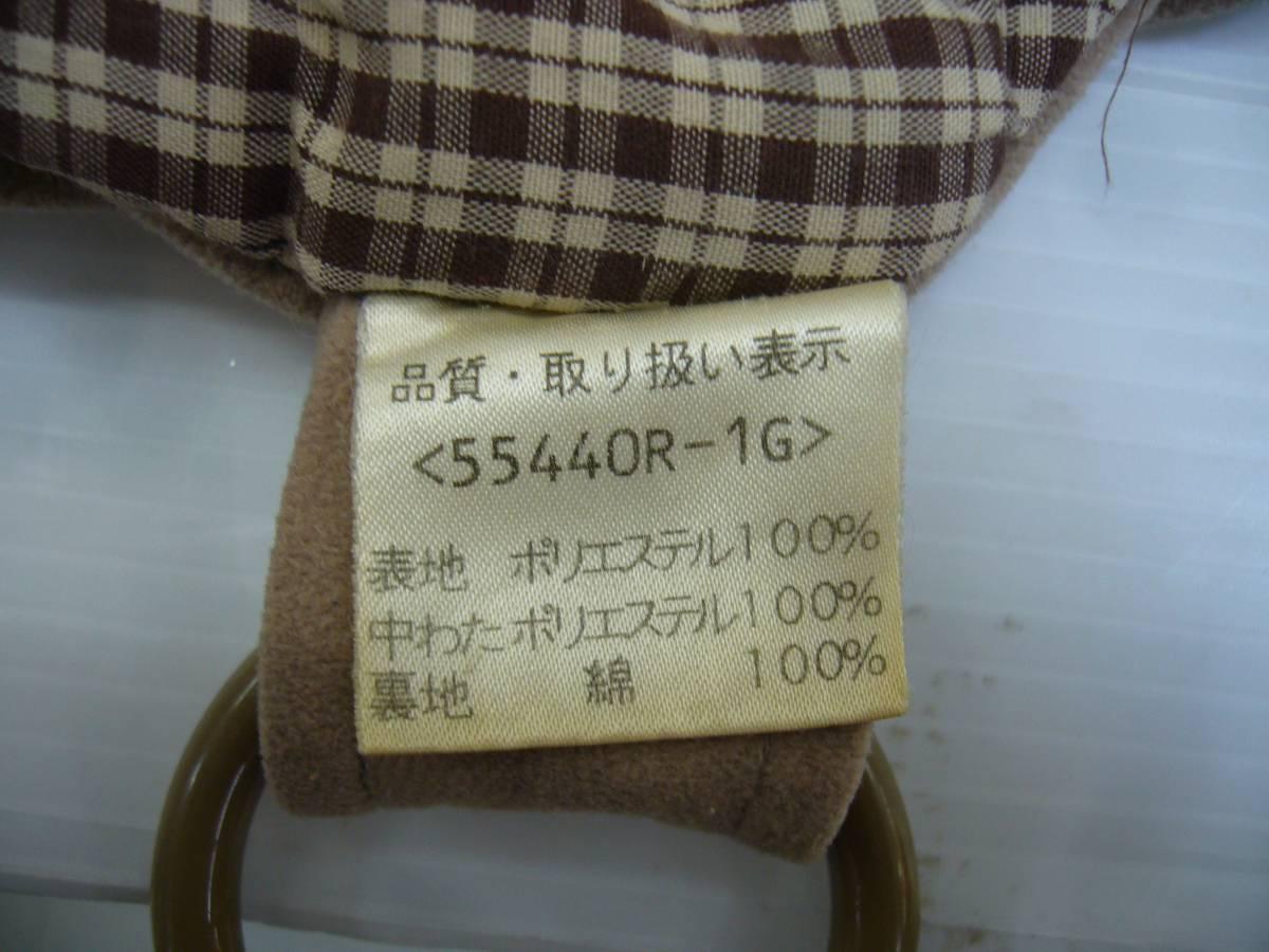 C755★おんぶ用フード付き 防寒袖なしママコート 亀の子 亀の甲 ねんねこ★中古品_画像3