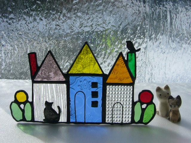 ハンドメイド■小さなお家のオブジェ*猫*小鳥■北欧*ステンドグラス
