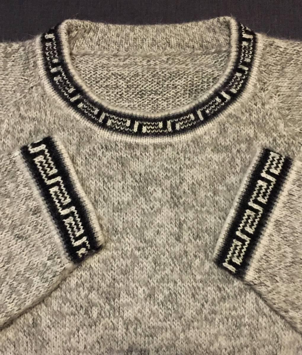 希少種90s80sオールド卍ネイティブ柄セーターMLサイズ毛アルパカ杢ミックスニット霜降りグレー黒グルカ90年代80年代ビンテージ/モヘア_画像2