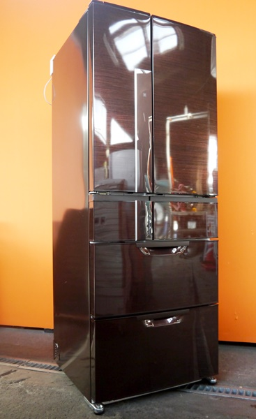 良好品◇三菱 600L 6ドア冷蔵庫(シャイニーブラウン) MR-JX60W-BR