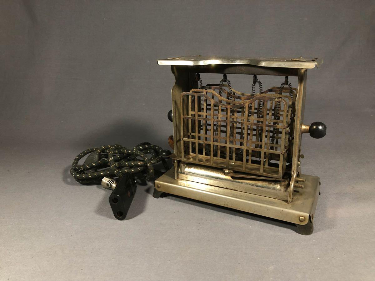 昭和レトロ 回転式トースター 昭和初期 二枚焼 手動式 両回転 希少品 珍品 ビンテージ アンティーク 電気トースター 通電OK パン焼き器