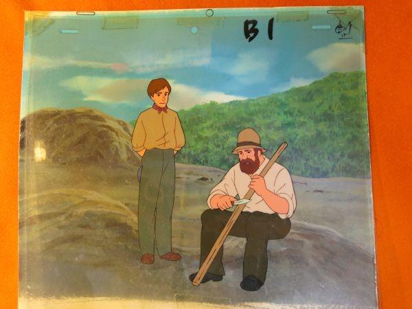 南の虹のルーシー 病気のクララを見舞うジョン 2話 セル画 直筆背景 父とジョン_画像2
