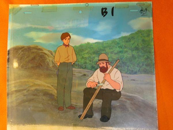 南の虹のルーシー 病気のクララを見舞うジョン 2話 セル画 直筆背景 父とジョン_画像1