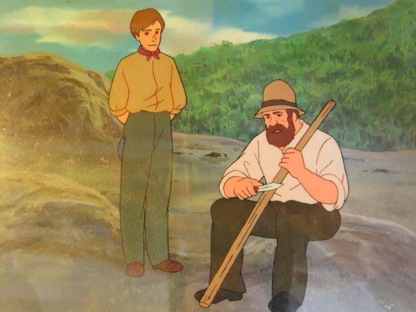 南の虹のルーシー 病気のクララを見舞うジョン 2話 セル画 直筆背景 父とジョン_画像3