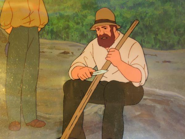 南の虹のルーシー 病気のクララを見舞うジョン 2話 セル画 直筆背景 父とジョン_画像5