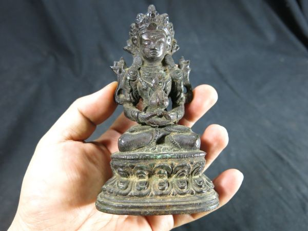 A 銅仏② 明時代 中国 チベット 西藏 老銅 金工 彫刻 信仰 文化財 仏教 古玩 本物 仏像 神像 寺院