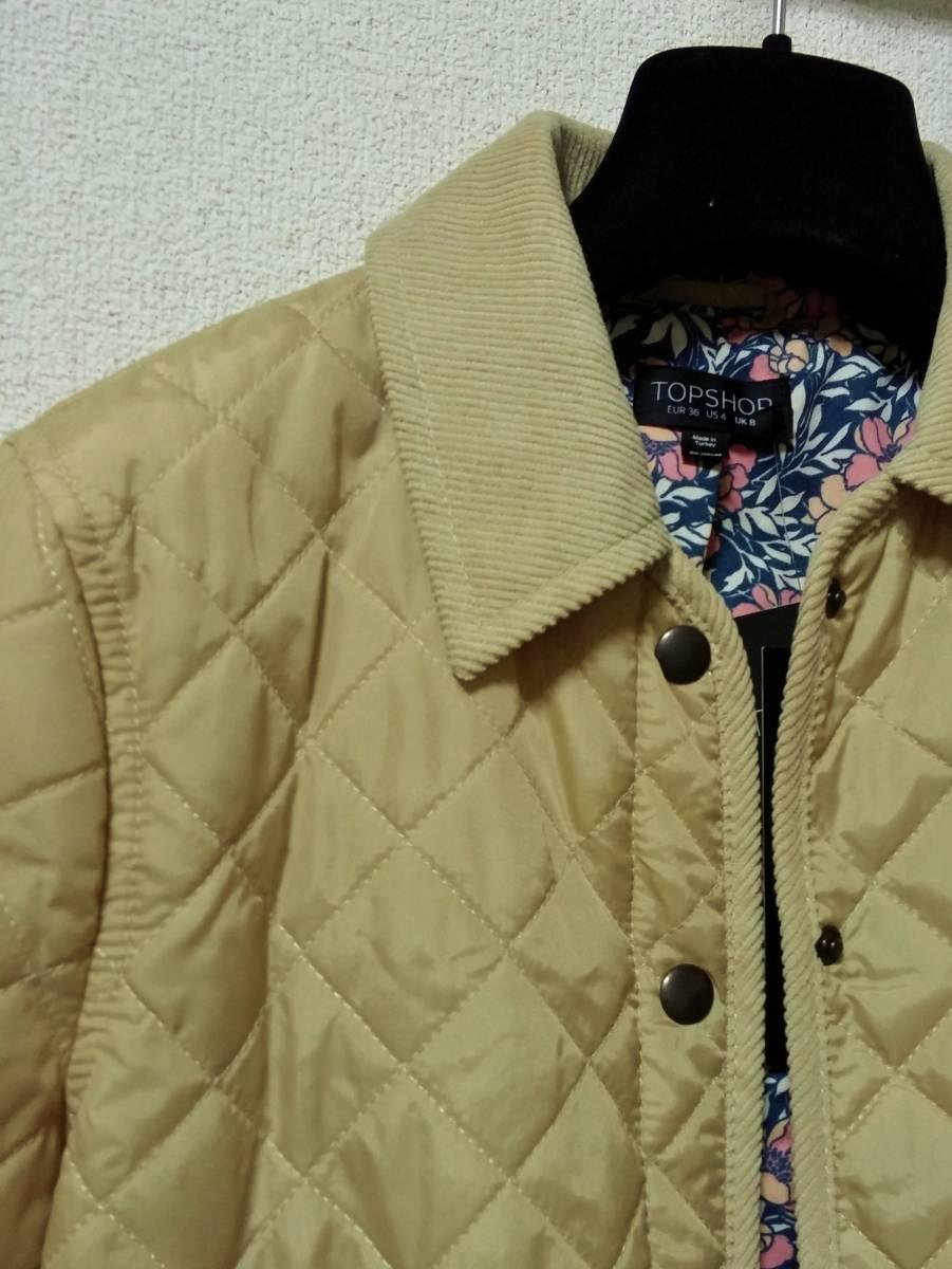 新品 TOPSHOP 中綿入りキルティングジャケット 36 ベージュ 花柄 コート ブルゾン トップショップ_画像4