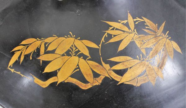 B-327 時代 陣笠 漆塗り金彩 径38.9センチ 武具 薩摩島津紋 古玩 蔵出_画像6