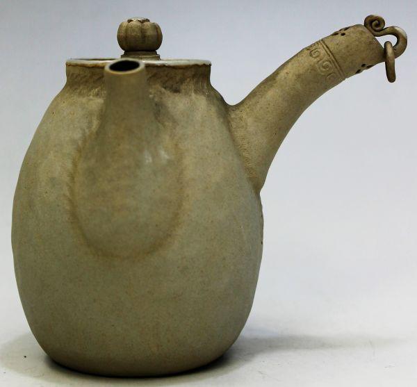 B-329 時代 萬古 万古焼 急須 宝瓶 白泥 白万古 煎茶 茶道具 古玩 蔵出 高さ10.1センチ_画像3
