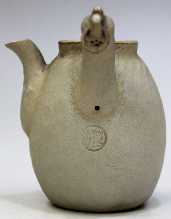 B-329 時代 萬古 万古焼 急須 宝瓶 白泥 白万古 煎茶 茶道具 古玩 蔵出 高さ10.1センチ_画像7