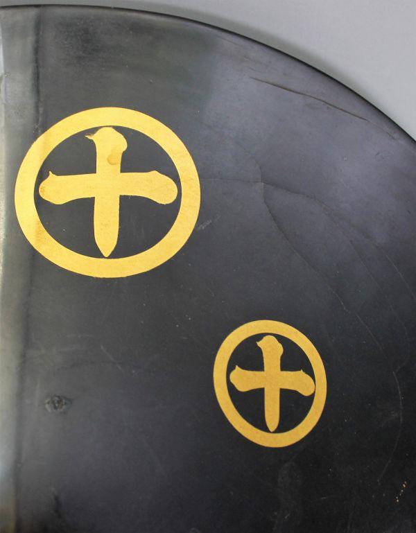 B-327 時代 陣笠 漆塗り金彩 径38.9センチ 武具 薩摩島津紋 古玩 蔵出_画像4
