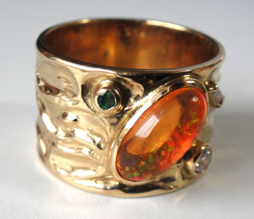 254-18131FT39-1 K18 金 GOLD ゴールド メキシコオパール エメラルド ダイヤ アンティーク リング 天然 本物 指輪 幅広 13号_画像3