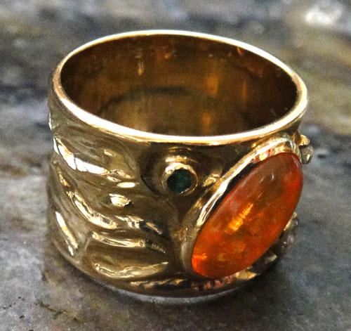 【最終処分】254-18131FT39-1 K18 金 GOLD ゴールド メキシコオパール エメラルド ダイヤ アンティーク リング 天然 本物 指輪 幅広 13号_画像6