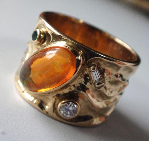 254-18131FT39-1 K18 金 GOLD ゴールド メキシコオパール エメラルド ダイヤ アンティーク リング 天然 本物 指輪 幅広 13号_画像2