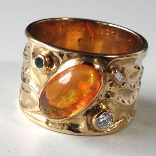 254-18131FT39-1 K18 金 GOLD ゴールド メキシコオパール エメラルド ダイヤ アンティーク リング 天然 本物 指輪 幅広 13号_画像1