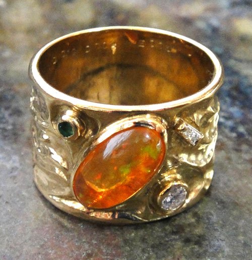 254-18131FT39-1 K18 金 GOLD ゴールド メキシコオパール エメラルド ダイヤ アンティーク リング 天然 本物 指輪 幅広 13号_画像4