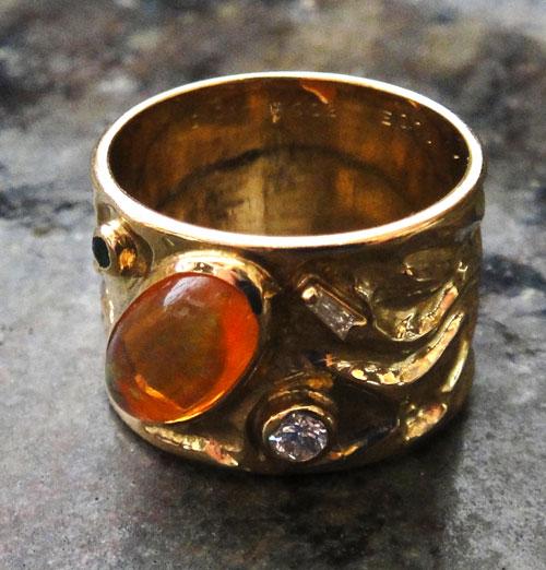 【最終処分】254-18131FT39-1 K18 金 GOLD ゴールド メキシコオパール エメラルド ダイヤ アンティーク リング 天然 本物 指輪 幅広 13号_画像5