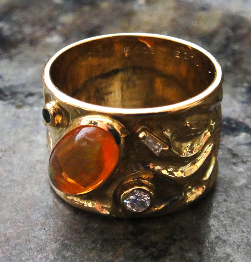 254-18131FT39-1 K18 金 GOLD ゴールド メキシコオパール エメラルド ダイヤ アンティーク リング 天然 本物 指輪 幅広 13号_画像5