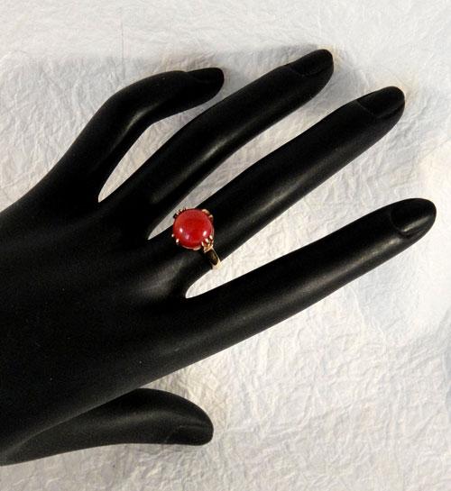 255-180217K5 K18 金 GOLD ゴールド 天然 本物 血赤 珊瑚 サンゴ コーラル リング 指輪 10mm 11号 特別価格_画像5